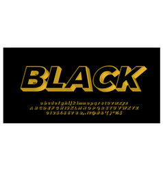Gold with black 3d font styles design templates vector