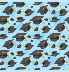 graduation hats seamless pattern vector image