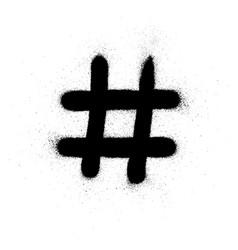 Graffiti hashtag symbol sprayed in black vector