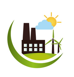 Green factory building icon vector