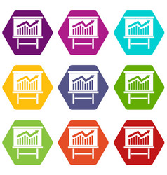 Growing chart presentation icon set color vector