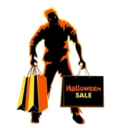Halloween zombie shopper vector image