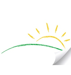 Hand drawn sun and hill vector