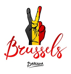 Hand making the V sign Belgium flag painted as vector image