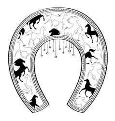 Horseshoe with horse pattern vector