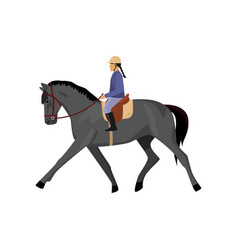 Horsewoman riding gray horse isolated against vector