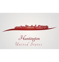 Huntington skyline in red vector image