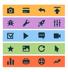 Interface icons set with printer refresh check vector