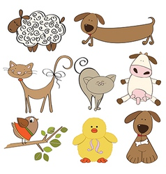 isolated farm animals set on white background vector image