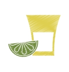 Isolated tequila shot with lemon design vector