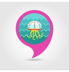 Jellyfish pin map icon Summer Vacation vector image