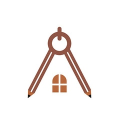 logo house building window circle symbol pencil ve vector image