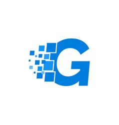 logo letter g blue blocks cubes vector image