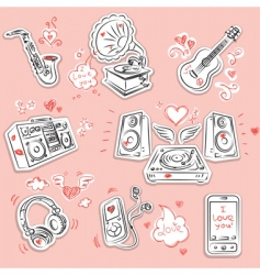 love music and doodles vector image