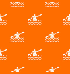 male athlete in a canoe pattern seamless vector image