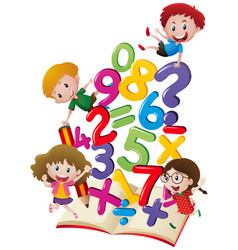 Many children with numbers in the book vector