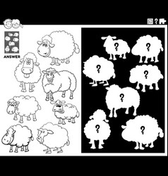 Matching shapes game with sheep coloring book page vector