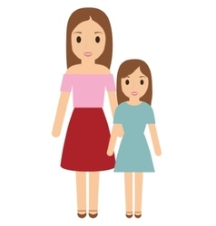 Mother and daughter family design vector
