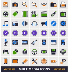 Multimedia simple icons vector image