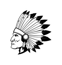 native american chief head in traditional vector image