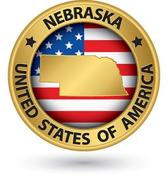 Nebraska state gold label with state map vector