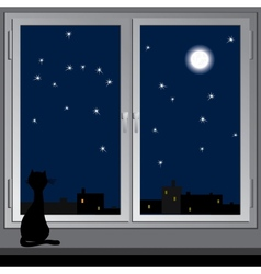 Nightly window and cats vector
