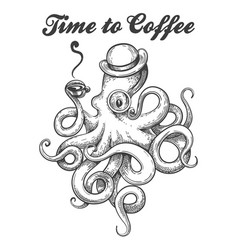 octopus with coffee cup vector image