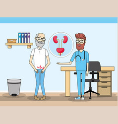 Old man with renal inyection and doctor vector