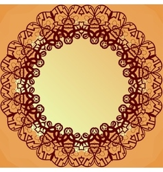 Ornamental round lace frame for text blank banner vector image
