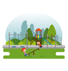 Park with kid zone scene with kids playing vector