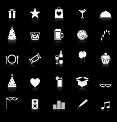 Party icons with reflect on black background vector