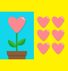 Pink heart icon set flower pot cute plant vector