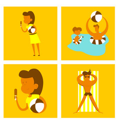 Pool party summer water activities scene vector