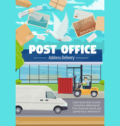 post office and correspondence mail delivery vector image