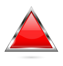 Red glass button 3d shiny triangle icon vector