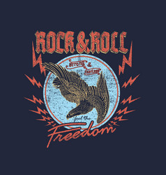 rock roll freedom eagle artwork for apparel vector image
