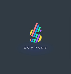 S letter logo with colorful lines design rainbow vector