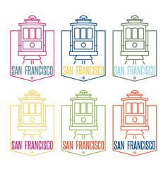 san francisco landmark tram line art design vector image