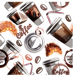 seamless background with coffee plastic cups vector image