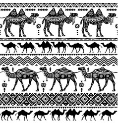 Seamless pattern with decorative camels vector
