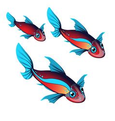 Set fantasy animals with ears and fins isolated on vector
