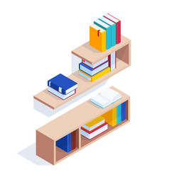 set isometric bookshelves vector image