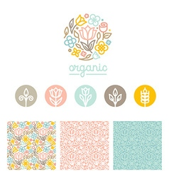 Set logo design templates seamless patterns and vector