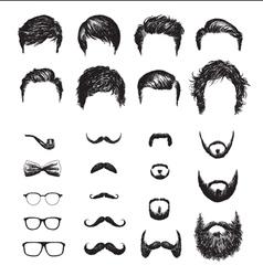 Set of different Hipster haircuts beards glasses vector