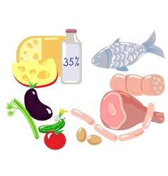 Set of high fat food vector