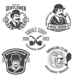 Set of smokers club gentlemen club labels design vector