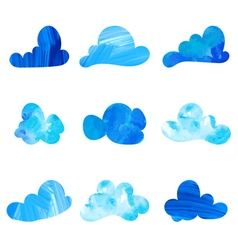 Set of stylized watercolor cloud silhouettes vector