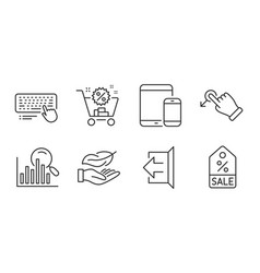 Shopping cart mobile devices and search icons set vector