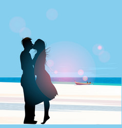 silhouette a couple in love kissing against vector image