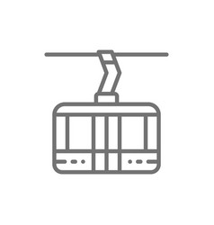 Ski lift cable car cabin cableway line icon vector
